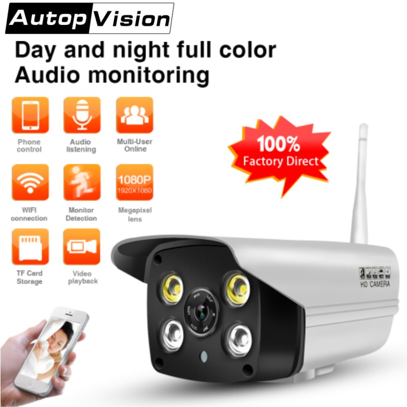 Outdoor Wifi IP Camera 1080P Full-color Night Vision Home Security Bullet Camera Audio monitoring Wireless CCTV Camera SD CARD wistino cctv bullet ip camera xmeye waterproof outdoor 720p 960p 1080p home surverillance security video monitor night vision