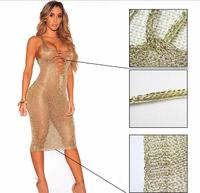 Fashion Sexy 2 Colors See Through Deep V neck Sleeveless Dress Women's Birthday Outfit Bar Women Singer Show Dancer Outfit