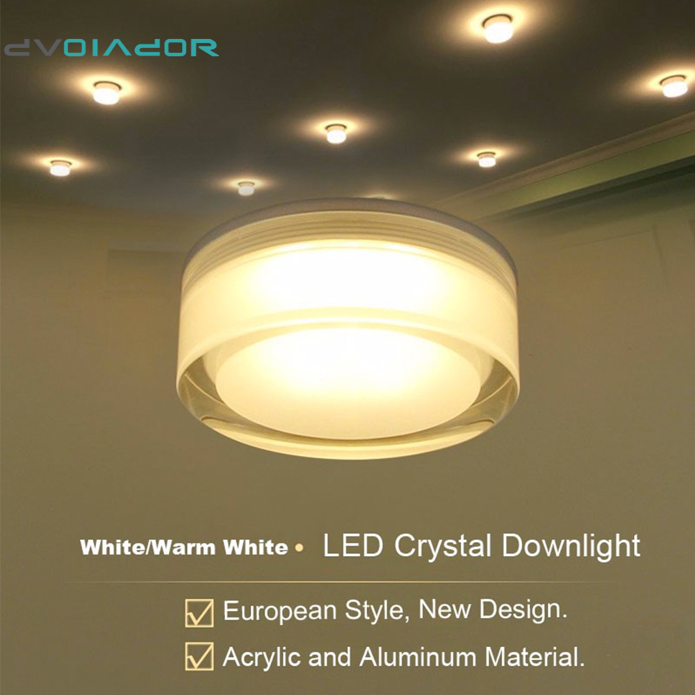 DVOLADOR Round 7W/5W/3W/1W LED Crystal Downlight LED Ceiling Spot Light Warm White/White LED Recessed Lamp for Home Decoration 25 watt round led ceiling downlight recessed kitchen bathroom lamp 85 265v led light warm white white cool white free shipping