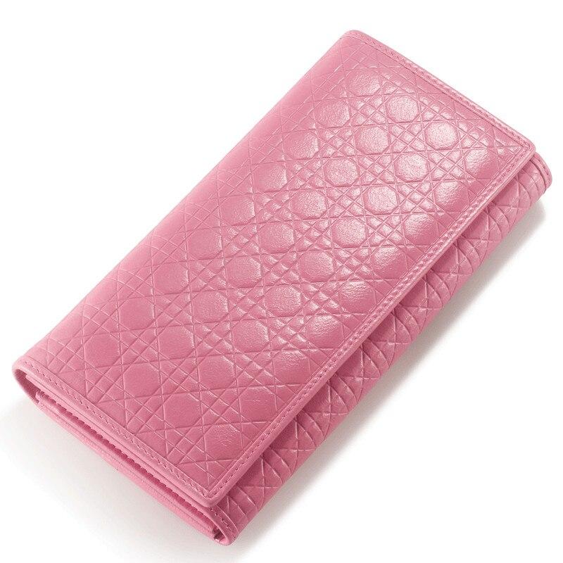 Mode dames portefeuille en cuir véritable Plaid embrayage Version coréenne du portefeuille des femmes trois fois en cuir de vache portefeuille des femmes-in Portefeuilles from Baggages et sacs    1