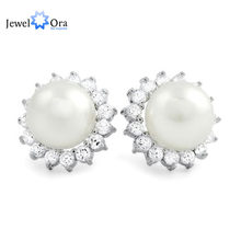 925 Sterling Silver Pejantan Anting Klasik 10mm Simulasi Pearl Dengan Cubic Zirconia Earrings Untuk Wanita (Jewelora EA101781)(China)