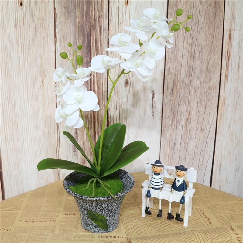 60 см Искусственный цветок Настоящее прикосновение латекс 2 ветка бабочка Орхидея цветы с листьями Свадебные украшения дома отеля Флорес