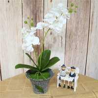 60cm flor Artificial de látex de tacto Real 2 ramas mariposa orquídea Flores con hojas boda hogar Hotel decoración Flores