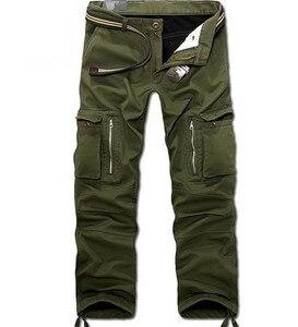 Image 2 - 29 40 calças de carga dos homens do tamanho grande inverno calças quentes grossas comprimento total multi bolso casual militar baggy tático