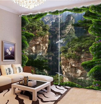Fashion cool Blackout 3D Curtain For Bedroom Beautiful cliff valley Modern fabric Window Curtains