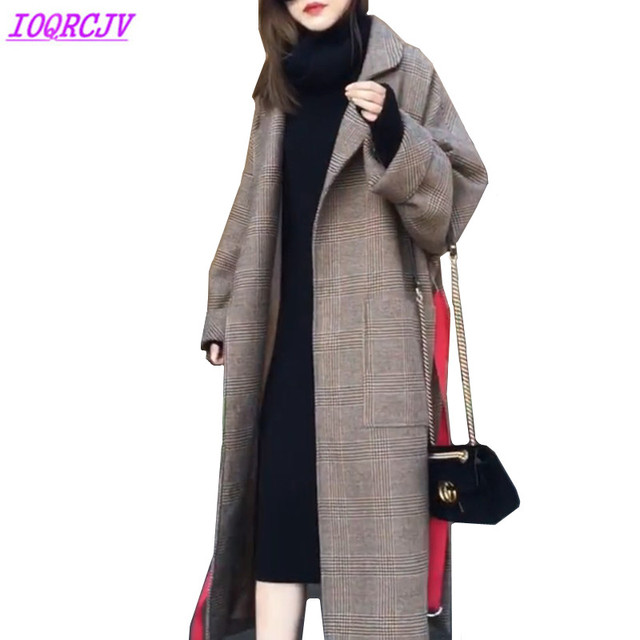 34a92629bf4a New Plaid Woolen Jacket Women Autumn Winter Thick Quilted cotton Warm Wool  Coats Fashion Large size Loose Outerwear IOQRCJV Q136
