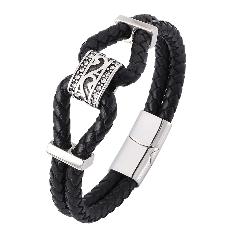 Newest Punk Men Jewelry Double Black Genuine Leather Braided Bracelet Male S.Steel Magnetic Clasp Trendy Leather Bangle SP0370