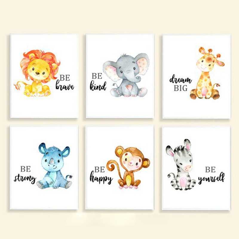 Сафари принт для детской комнаты джунгли детские животные холст Художественная живопись плакаты жираф слон лев Зебра картины Детская комната Декор стен