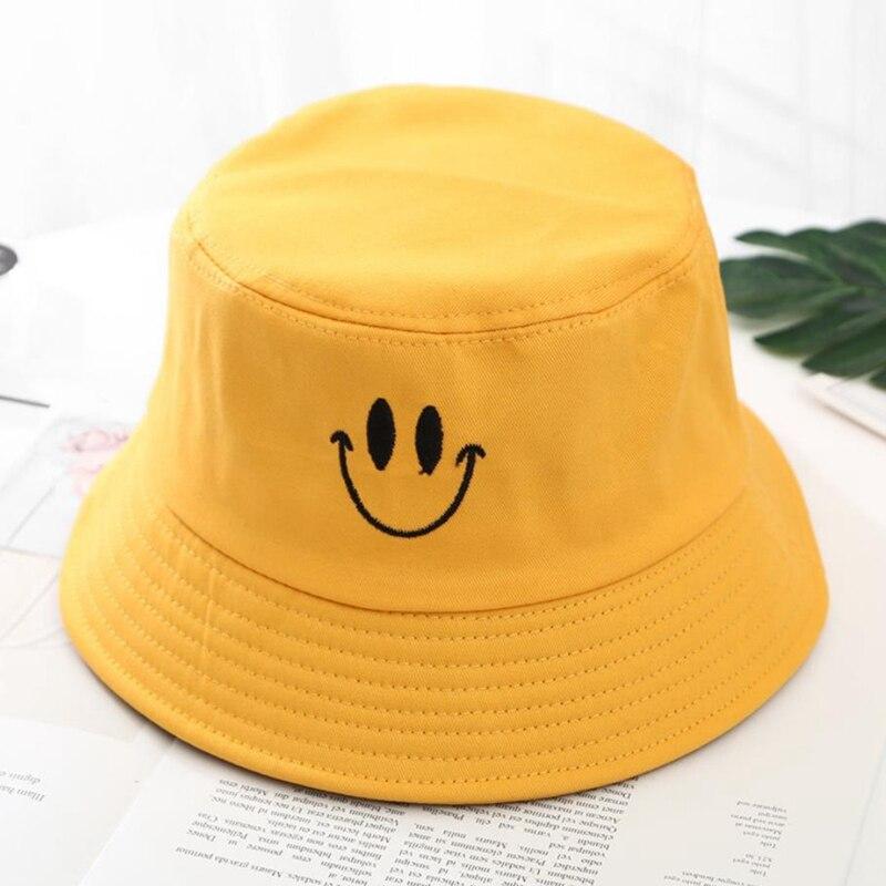 100% Wahr 1 Pc Casual Stickerei Gelb Smiley Gesicht Fischer Hut Für Frauen Männer Mode Einfache Outdoor Freunde Visier Sonne Becken Hüte