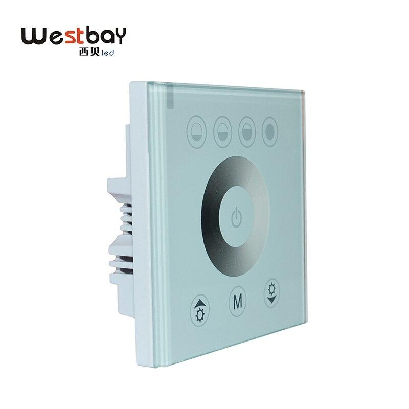 Westbay led dimmer interruptor de toque de vidro do painel controlador ajustável para diy iluminação cor branca interruptor de parede luz