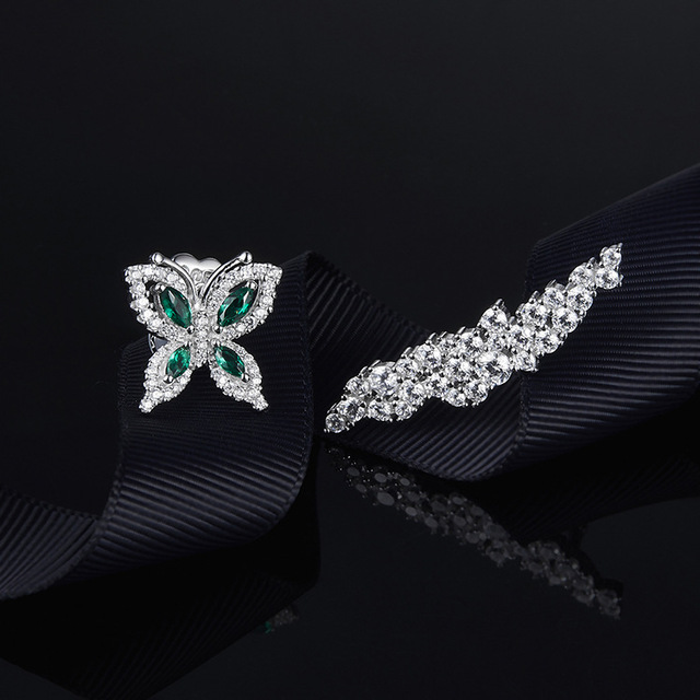 [MeiBaPJ] Elegant Women Pure S925 Sterling Silver Earrings AAA Green Zircon Personality Butterfly Stud Earrings Fine Jewelry