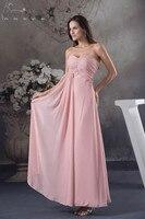 Цвет на заказ длинное пляжное Бисер невесты Ruched платья без бретелек Розовый шифон нарядные платья для свадьбы Пром платье Vestidos