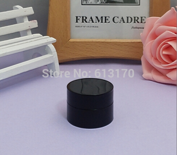 100pcs 5g Empty cream jar Black color for eye shadow eyecream Mini sample jars Cylinder Shape