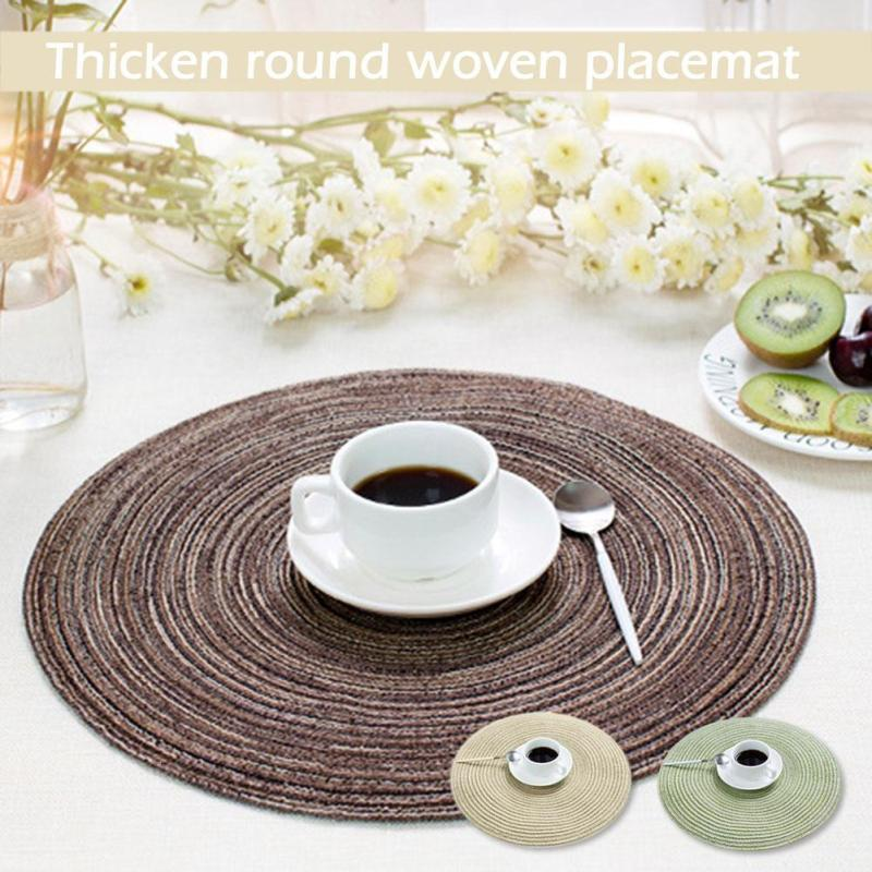 Dinner Tablecloth Restaurant Kitchen Accessories Decoration Hot Pad Round Woven Table Napkins Placemat Coffee Drink Coaster S4