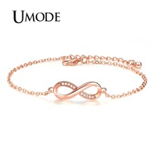 UMODE 2018 New Fashion Clear Zircon Crystal Bracelets for Women Eternity Infinite Bracelet Jewelry Accessories Gifts AUB0137