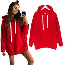 Women Red Hoodies Sweatshirts Ladies Autumn Solid Pullovers Long Sleeve Sexy Winter Fall Clothing Sweat Shirts