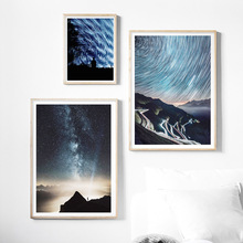 где купить Starry Sky Galaxy Mountain Light Road Wall Art Canvas Painting Nordic Posters And Prints Wall Pictures For Living Room Decor Bar по лучшей цене