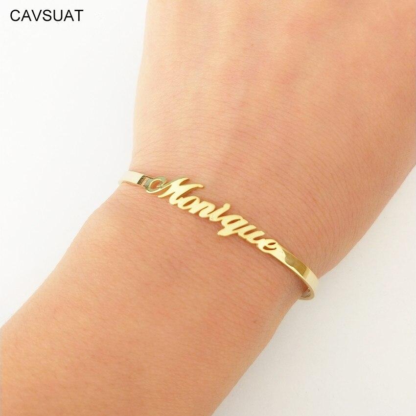 CAVSUAT de dama de honor nombre personalizado brazaletes para las mujeres los niños a mano hecho a mano DIY cualquier palabra carta plana brazalete pulsera encanto pulsera de la joyería personalizada