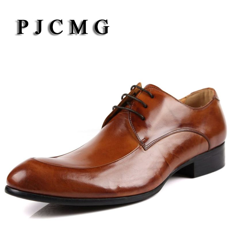PJCMG Oxford Shoes Brown/ Black Mens Business Dress Lace-Up Shoes Genuine Leather Pointed Toe Mens Wedding Shoes top quality crocodile grain black oxfords mens dress shoes genuine leather business shoes mens formal wedding shoes