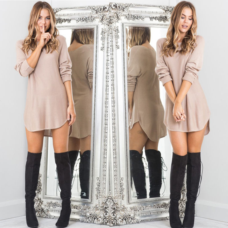 Autumn Winter 2016 New Fashion Sexy Women Loose Casual font b Long b font Sleeve Mini