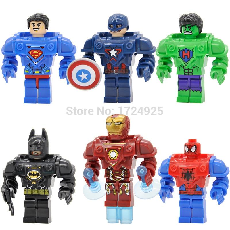 6pcs/lot Marvel Armor Version Figure D901 Super hero Building Blocks Superman Iron Man Sets Models Toys