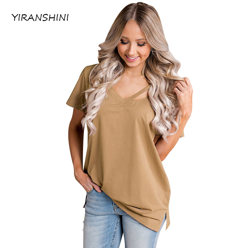 YIRANSHINI 2018 New Sexy Lady Short Sleeve V-Round Neck Khaki Loose Fit Basic T-Shirt Casual Womens T-shirt LC250067-2