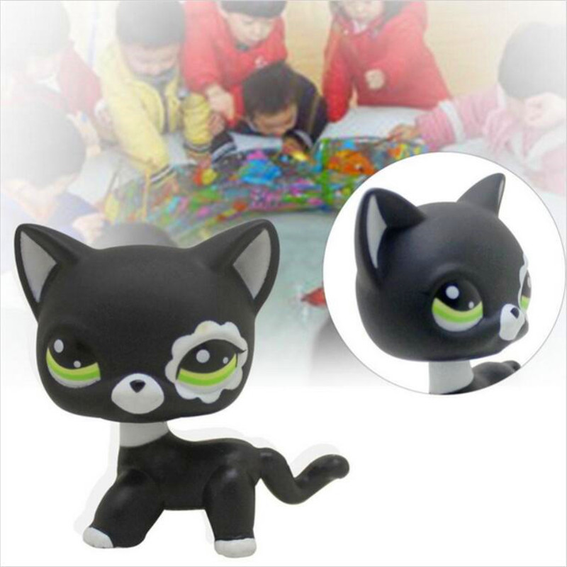 lps free shipping Pet shop toys rare black little kitty blue eyes animal models patrulla canina Action figures kids toys gift 48pcs cupule kids cartoon animal action figures stikeez toys sucker kids mini suction cup collector capsule model for kids gift