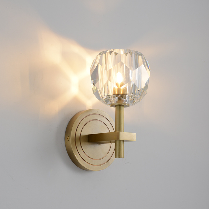 Modern copper crystal wall lamp living room bedroom bedside lamp Nordic luxury LED wall lightModern copper crystal wall lamp living room bedroom bedside lamp Nordic luxury LED wall light