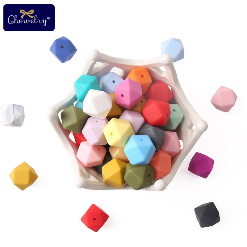 CHEWELRY 100Pc 17mm Perle Silicone Beads Hexagon Baby Silicone Teether DIY Nursing Pacifier Pendant Tiny Rod Childen's Goods Toy
