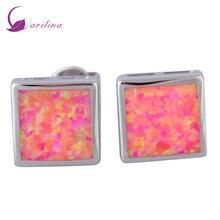 hot deal buy fashion bijoux square pink opal silver jewelry women's earrings cute tortoise fashion jewelry e395