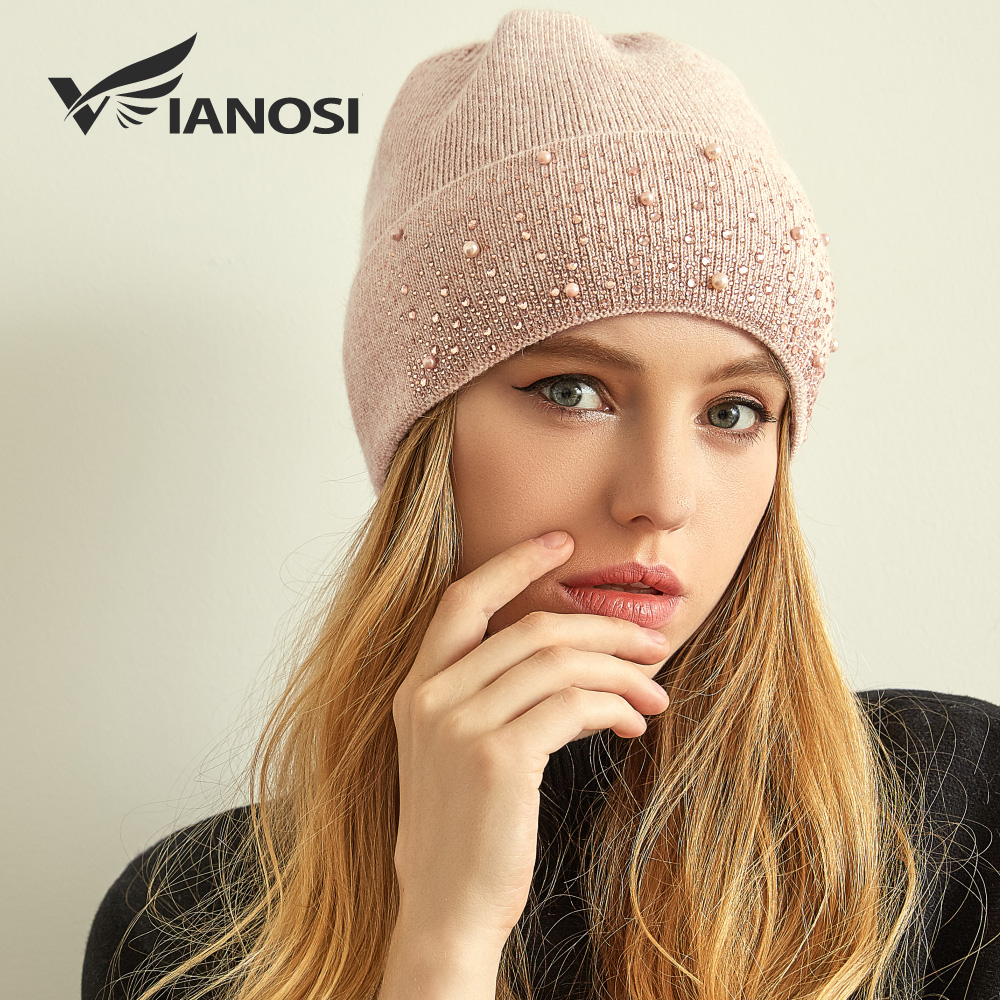 VIANOSI Knitted Winter Hat Women Thick Female Beanies Warm Cap Rhinestone Pearl Wool Hats For Women