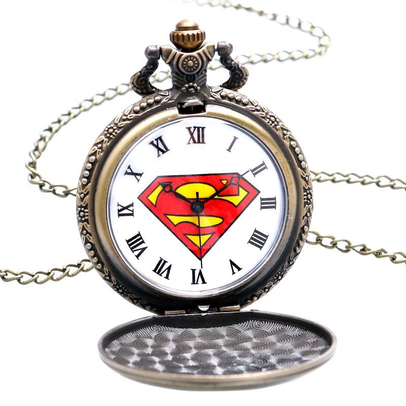 2016 Yeni Varış Klasik Comic Superman Kuvars Pocket Watch Erkekler - Cep Saatleri - Fotoğraf 6