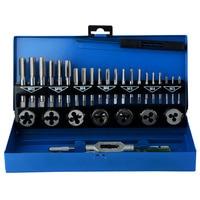 32 in 1 Metric Hand Tap Set Screw Thread Plugs Straight Taper Reamer Tools Adjustable Taps Dies Wrench Car Repairing Tool