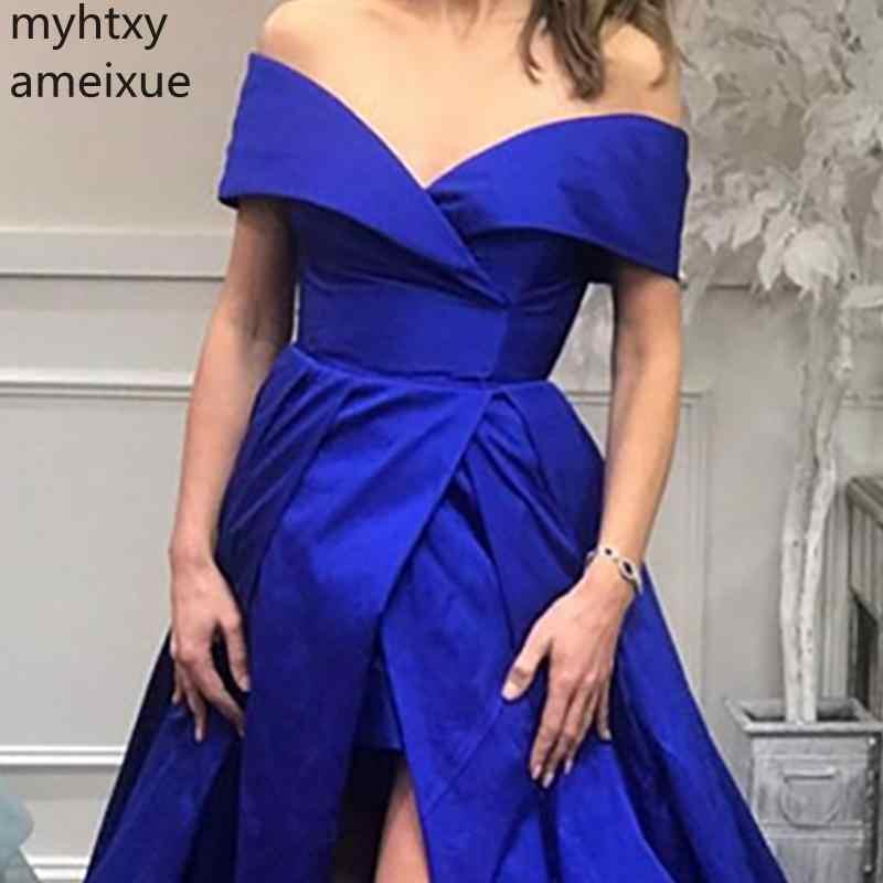 2019 голубое платье Плюс Размер Сексуальные вечерние платья Модные королевские вечерние платья для выпускного вечера индивидуальный заказ спереди Сплит А-силуэт тафты Vestido