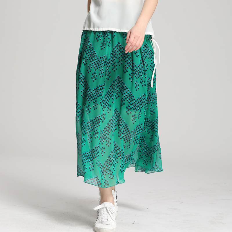 2019 Summer Natural Silk Skirt 100% Mulberry Silk Double Layer Long Skirts FREE SHIPPING silk