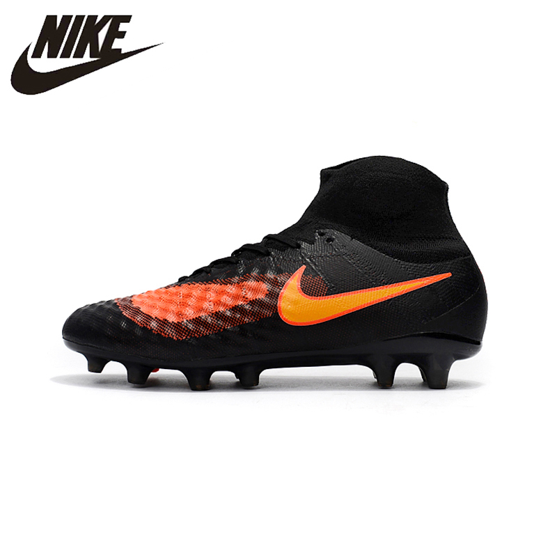 37c6381fd Nike Magista obra II FG Sneakers Soccer Shoes Black Orange Outdoor Lawn  High Quality Men Football Shoes 844595-414 39-45