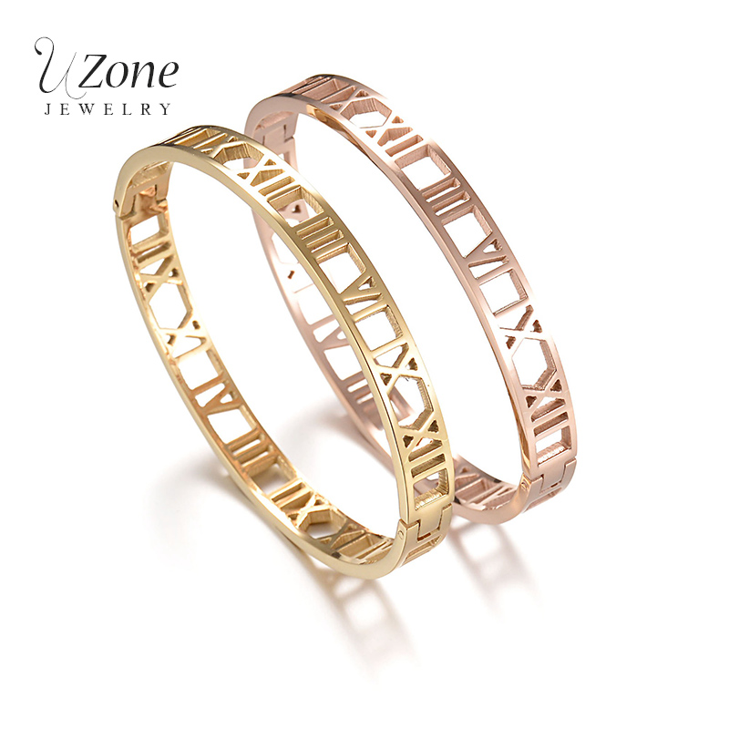 UZone Famous Brand Hollow Bangles Gold Color Stainless Steel Bracelet For Women Wedding Gift