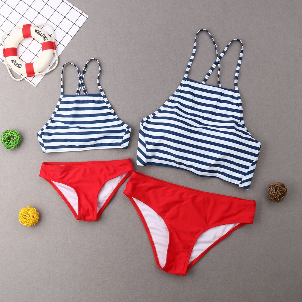 Mommy And Me Swimwear High Waist Bikini Mother And Daughter Swimsuits Family Matching Clothes Look Mom And Girls Beachwear Dress