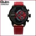 Correa de cuero Relojes de marca de lujo de Los Hombres Reloj Militar Moda. Oulm reloj con Doble Movimiento de Cuarzo Reloj Relogio masculino