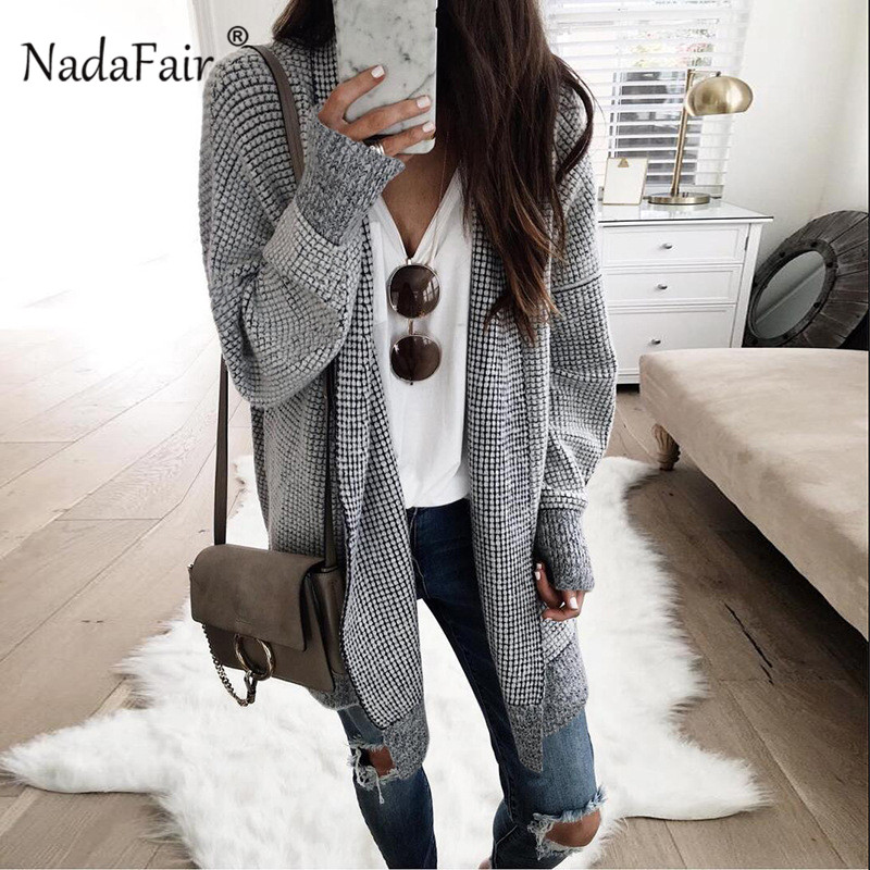 Nadafair Oversized Long Cardigan Women Vintage Plaid Winter Knitted Cardigan Sweater Female Casual Autumn Coat Outwear