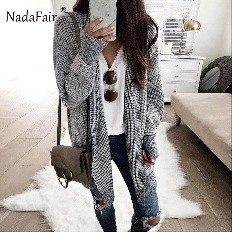 Nadafair גדול ארוך קרדיגן נשים בציר משובץ חורף סרוג קרדיגן סוודר נשי מזדמן סתיו מעיל להאריך ימים יותר