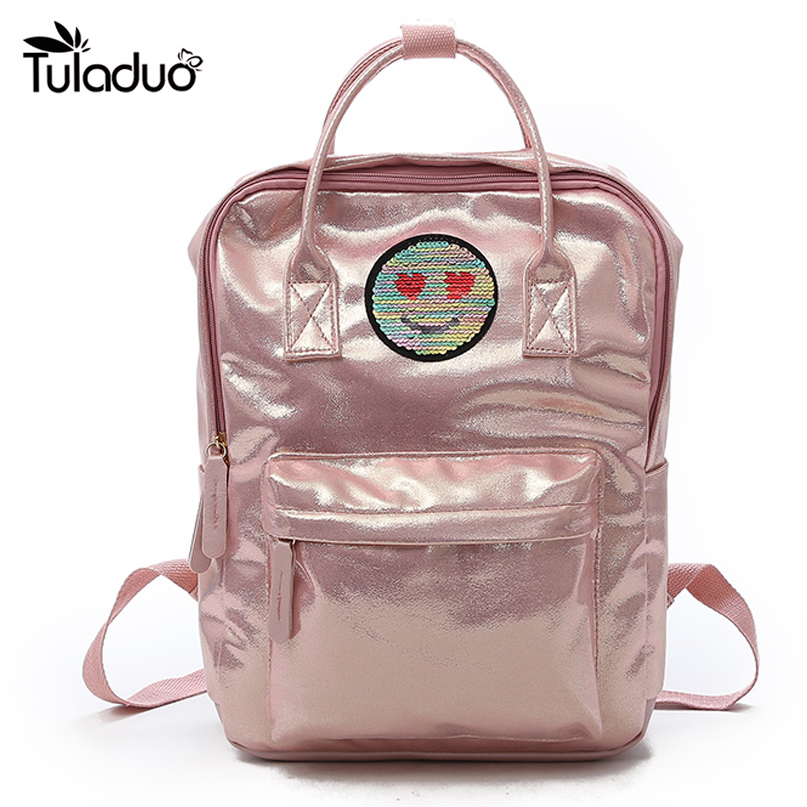 Hot Sale Fashion Bright skin Backpack Women Pu Leather Back Pack Famous Brand School Bags for Girls Smile Printed For Children