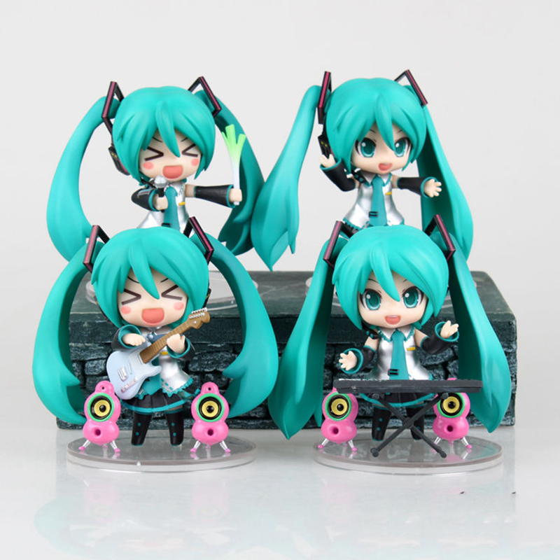 4pcs/set New Guitar Hatsune Miku Anime Figures Scenes PVC Action Figure Movable Boxed Model Toy Birthday Christmas Gifts QB78