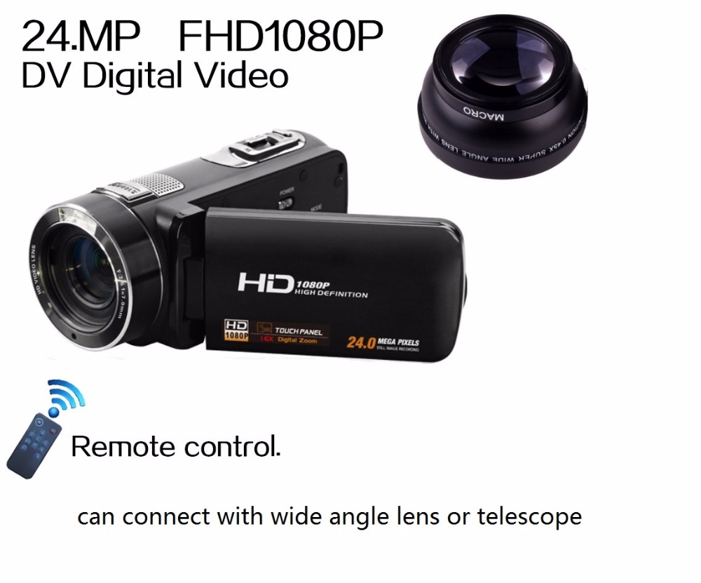 Remote Control 1080P Full HD digital Video Recorder 3.0 LCD Touch Screen 24MP 16x Digital Zoom Camcorder DV+Wide Angle Lens