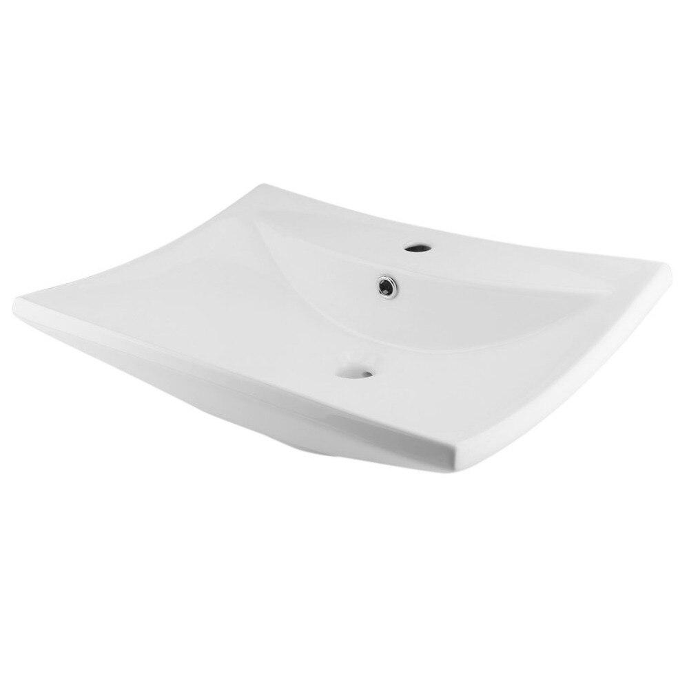 Newest Elegant Design Home Bathroom Kitchen Decoration Ceramic Wash Basin Rectangular Hand Washbasin 8074 White chess shape design ceramic disc safe hand keeping warm 5min charging 2 6 hours natural heat massage design