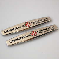 2pcs Metal Side Fender Trunk Evil Umbrella Corporation Badge Emblem Sticker
