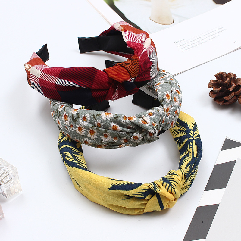 Korean Knotted Floral Cloth Adult Bezel Hair Accessories for Female Wide-brimmed Headband   Headwear