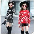 Free shipping  Winter new girl casual striped knit sweater fringed zebra sweater  size 120-160