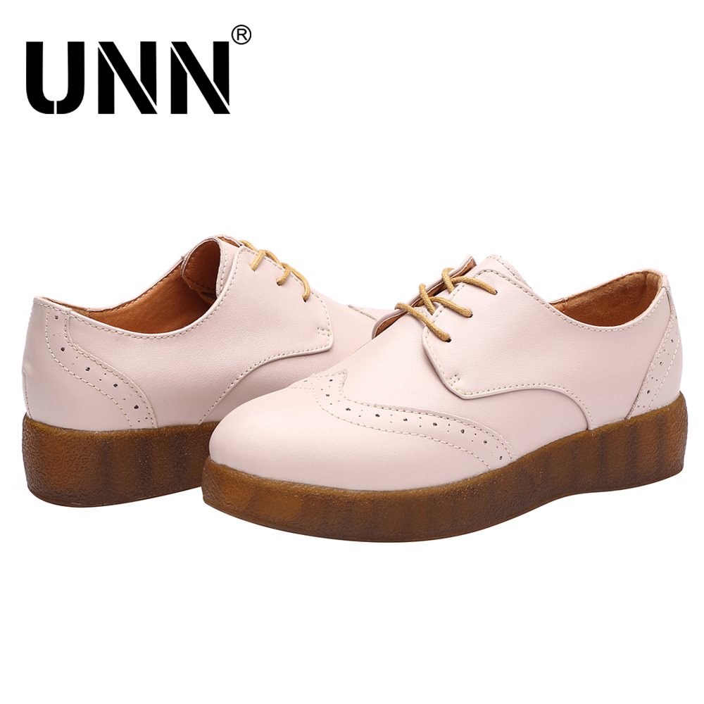 UNN Brand Spring Women Platform Shoes Woman Brogue Patent Leather Flats Lace Up Footwear Female Flat Oxford flat Shoes For Women hizcinth 2018 brand women shoes patent leather flat platform female single women s shoes students flats loafers zapatillas mujer