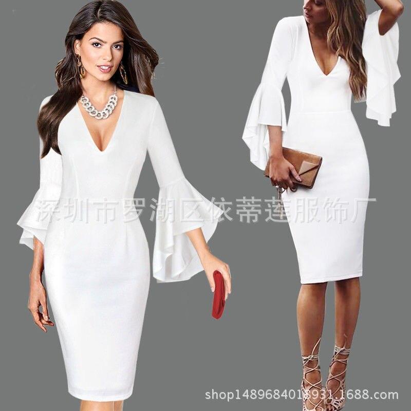 Сексуальные коктейльные платья с v-образным вырезом, Короткие вечерние платья с длинным рукавом, платье длиной до колена, коктейльное повседневное облегающее платье с оборками - Цвет: White